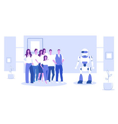 businesspeople group standing with robot vector image