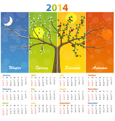 calendar for 2014 seasons vector image