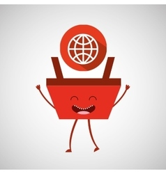 cartoon basket shopping connection global vector image
