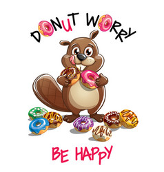 Cartoon beaver with donuts vector