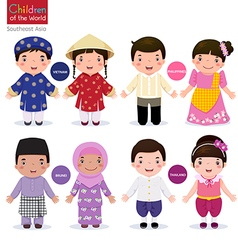Children of the world Vietnam Philippines Brunei vector image
