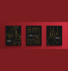 Christmas new year gold holiday art deco card set vector