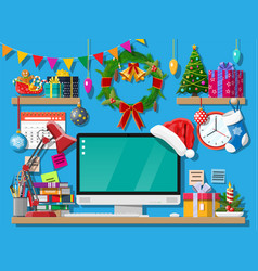 christmas new year office desk workspace interior vector image