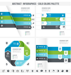 cold colors abstract infographics set 2 vector image