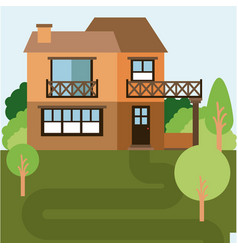 Colorful natural landscape with country house of vector
