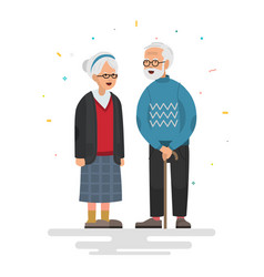 couple of elderly people vector image