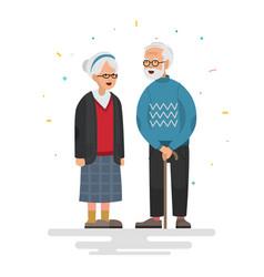 Couple of elderly people vector