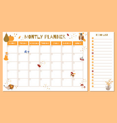 Cute monthly planner with autumn hand drawn vector