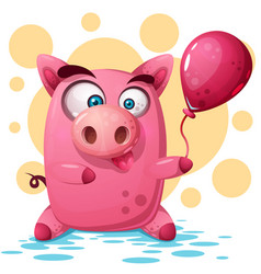 cute pig with balloon symbol the vector image