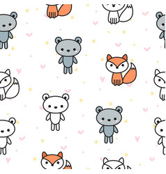 Cute seamless pattern with bears and foxes for vector