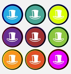 Cylinder hat icon sign Nine multi-colored round vector