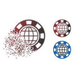 dispersed dotted halftone global casino chip icon vector image