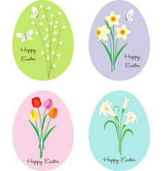 Easter eggs with patterns flowers and bunnies vector