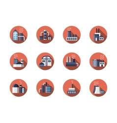 Factories and plants round flat icons set vector image