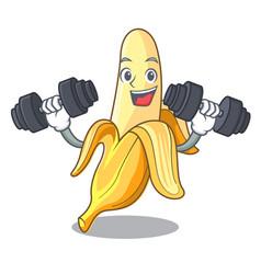 fitness ripe banana isolated on character cartoon vector image