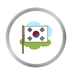 Flag of South Korea icon in cartoon style isolated vector