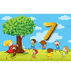Flashcard number 7 with seven children in the park vector