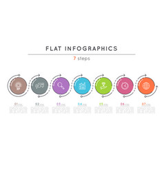 flat style 7 steps timeline infographic template vector image