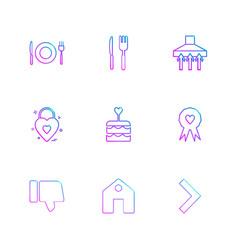 Food fork spoon knife plate badge cake home vector