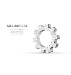gear closeup abstract wireframe one gear vector image