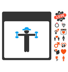 gentleman fitness calendar page icon with dating vector image