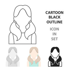 girl with tails icon cartoon single avatar vector image