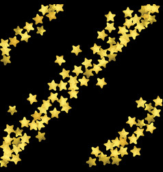 golden confetti isolated on black background vector image