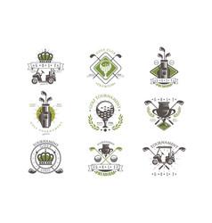 Golf tournament logo set vintage labels for golf vector