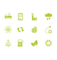 green energy environment icons set flat style vector image