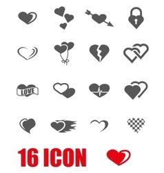 grey heart icon set vector image