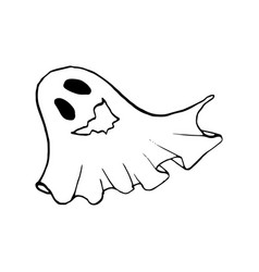 Halloween doodle ghost element isolated vector