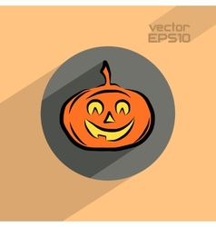 Halloween pumpkin flat icon vector image