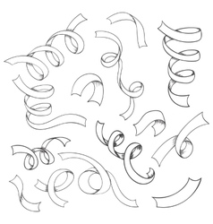 hand drawn set ribbons vector image