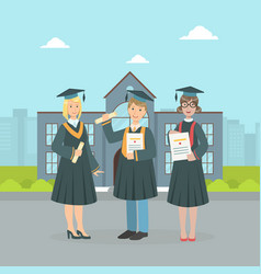 happy graduate students wearing gown and cap vector image