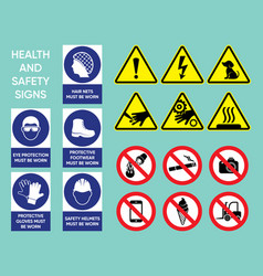 health and safety signs collection vector image