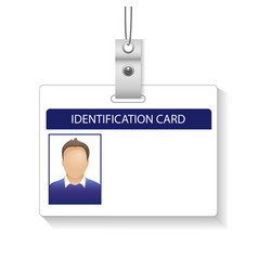 Identification card with photo man isolated white vector
