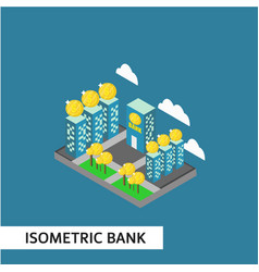 isometric bank template design vector image
