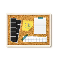 Items pinned to corkboard with wood frame vector