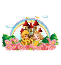 knight and princess in flower garden vector image