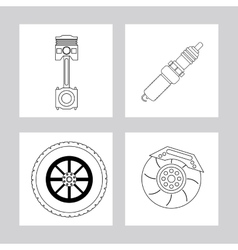 Machine and wheel icon Auto part design vector