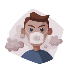 Man wearing protective face mask people suffering vector