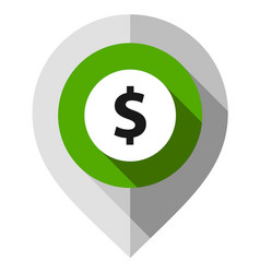Map pin symbol dollar gps pointer folded from vector