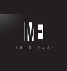 Me letter logo with black and white negative vector