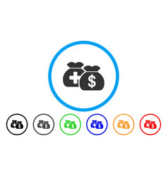 Medical fund bags rounded icon vector