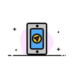 mobile pin rainy business flat line filled icon vector image