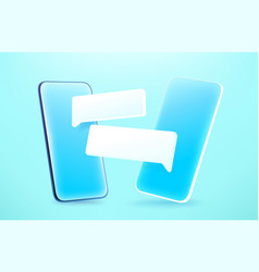 Modern smartphone with chat frames 3d comic style vector