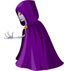 Monster with red eyes in purple cloak with hood vector