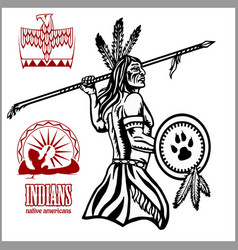 Native american indian man with spear tribe vector