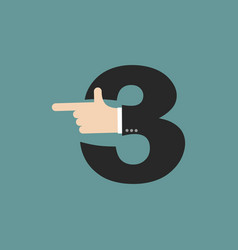 Number 3 letter businessman hand font it shows vector