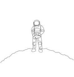 one continuous line drawing young spaceman vector image
